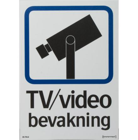 V-skylt TV-ÖVERVAKNING