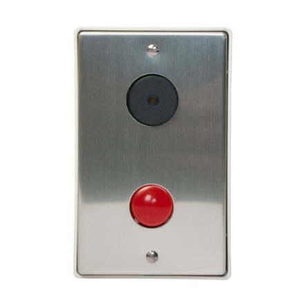 Lysdiodtablå röd/summer med front i aluminium