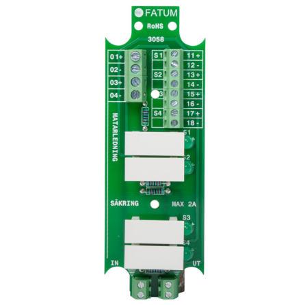 Säkringskort för 12 eller 24 volt med 4 utgångar